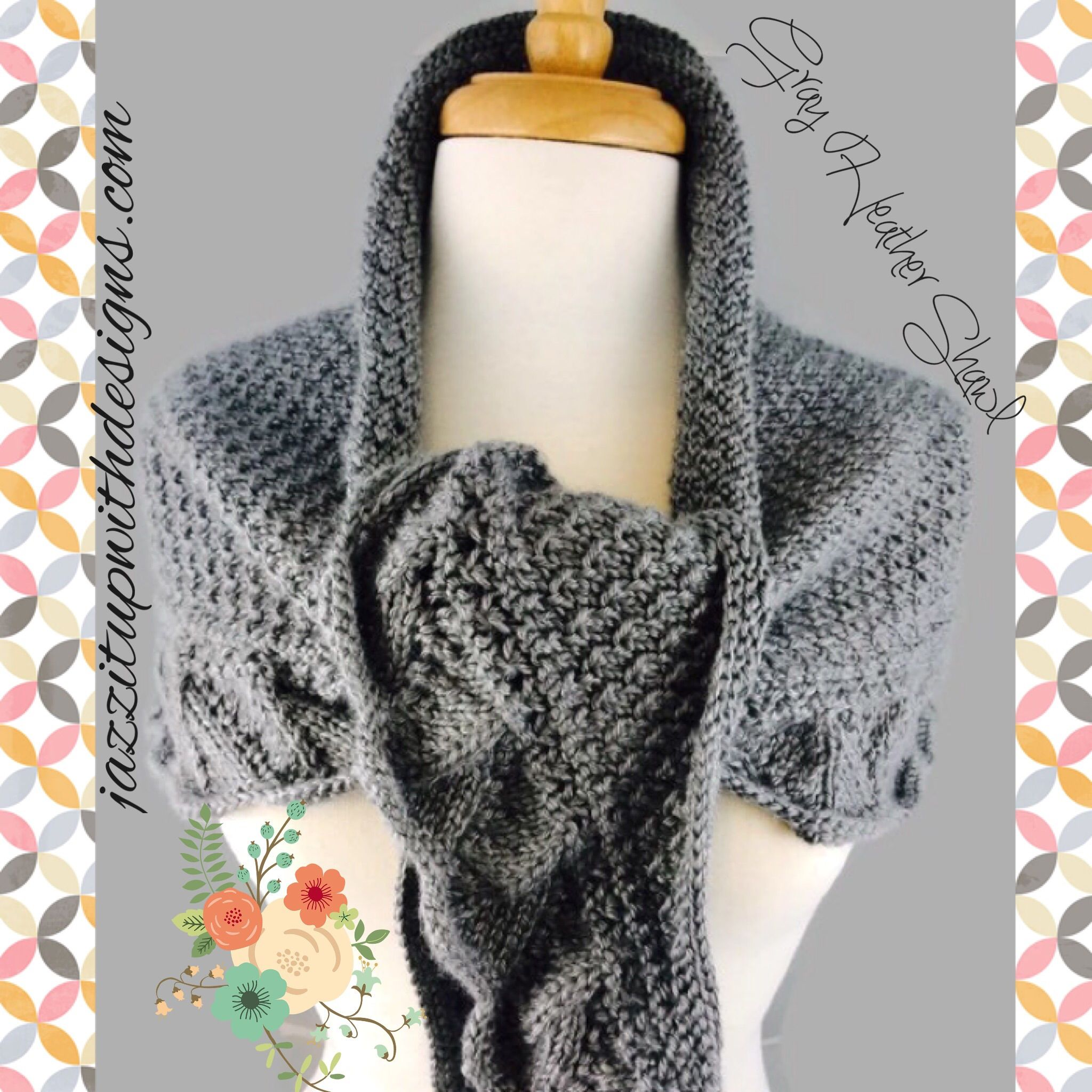 Gray Heather Demalangeni Shawl Scarf Handknit and Comfy #cpromo