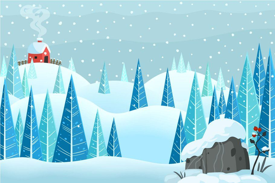 Vector Winterland Collection Snow Illustration Holiday Calligraphy Forest Cartoon