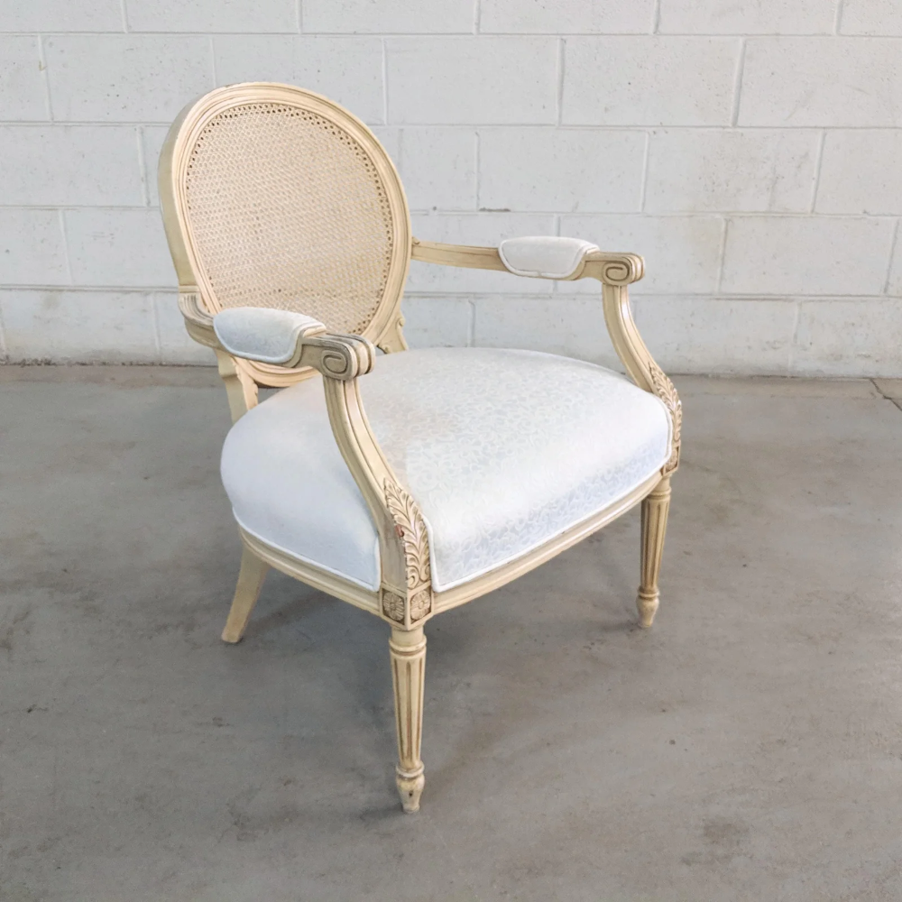 1970s Vintage French Provincial Cane Accent Chair Accent Chairs