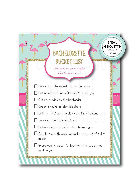 "Flamingo Bachelorette Party Game / Bridal Shower Game ""Bachelorette Bucket List"" - 8.5 x 11  Bridal Shower Game  Bachelorette Party Sign by BridalEtiquette on Etsy"