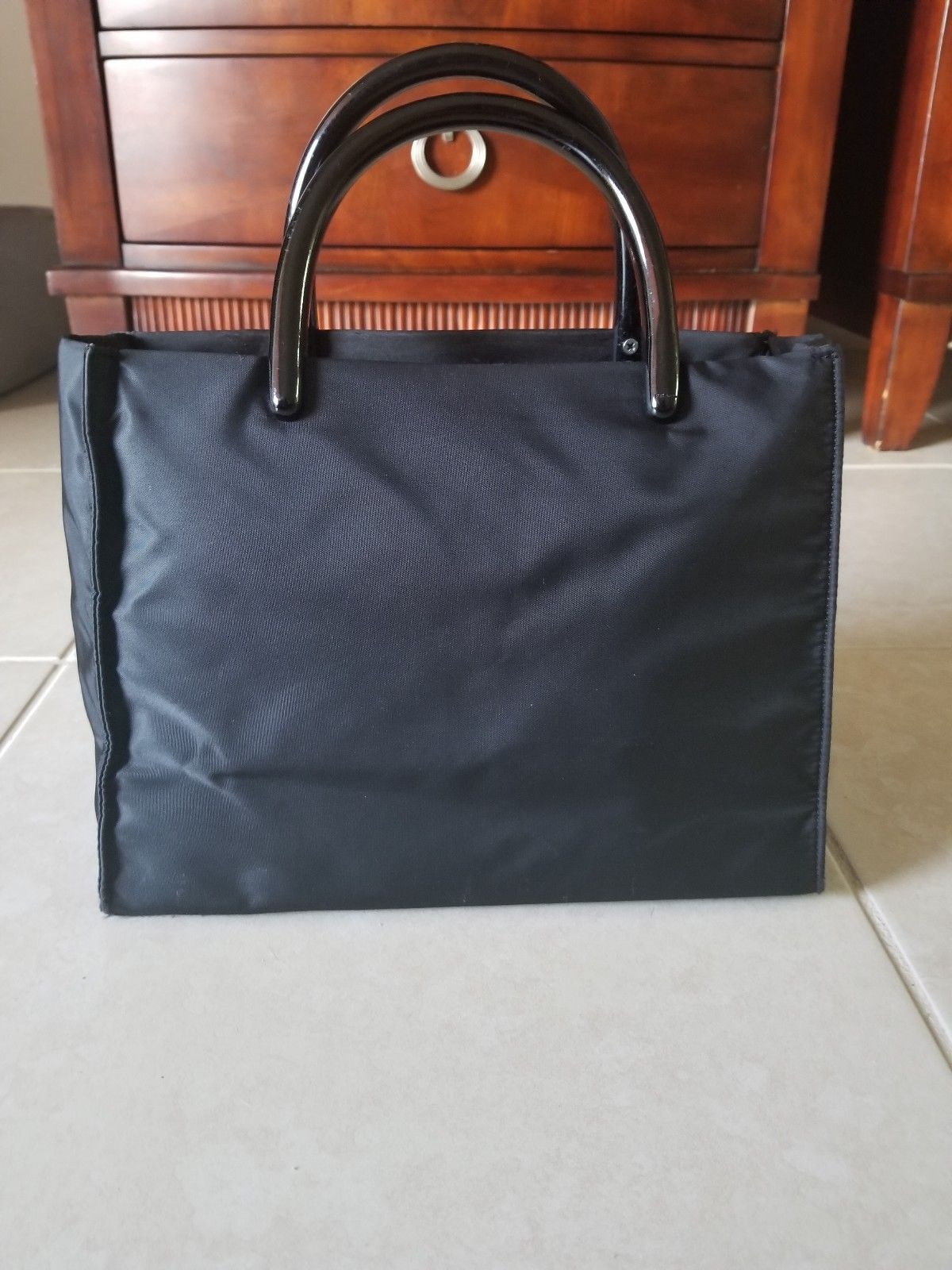 c4991584f7ab ... reduced prada black nylon tote handbag double lucite handles side logo  40.0 be5c8 37b43