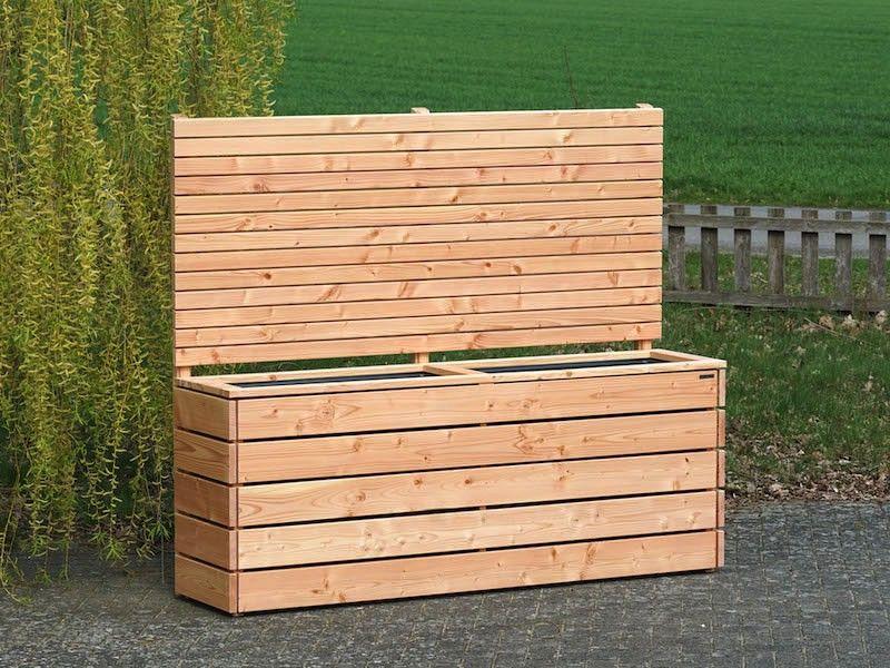 Pflankasten mit Sichtschutz Holz, Oberfläche Natur