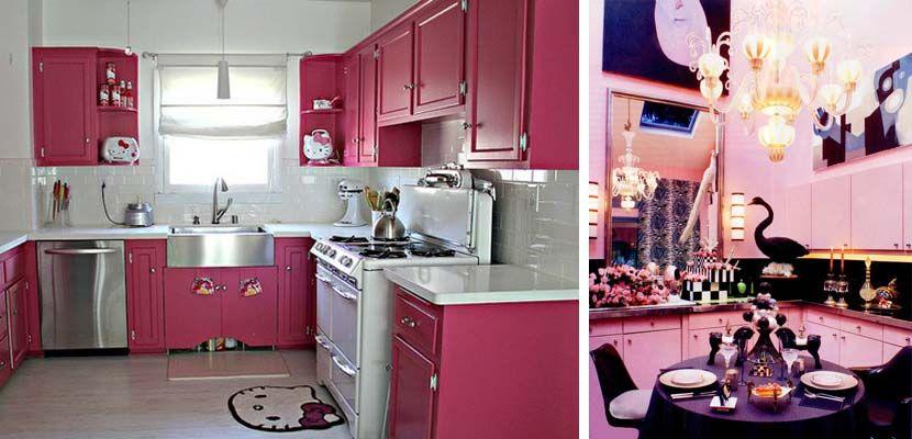 Divertidas cocinas en color rosa color rosa cocinas y color - Cocinas rosa fucsia ...