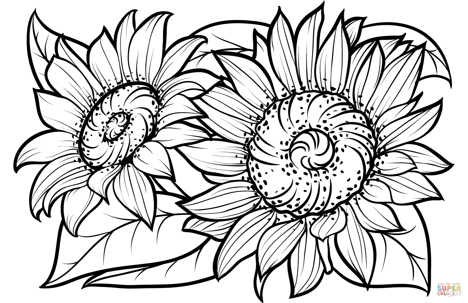 Sunflowers Super Coloring Sunflower coloring pages