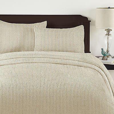 King Size Sand Tan Honeycomb Block Design Chenille