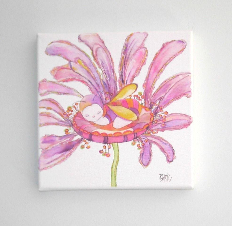 Aquarelle Originale Tableau Bebe Sur Fleur Rose Decoration