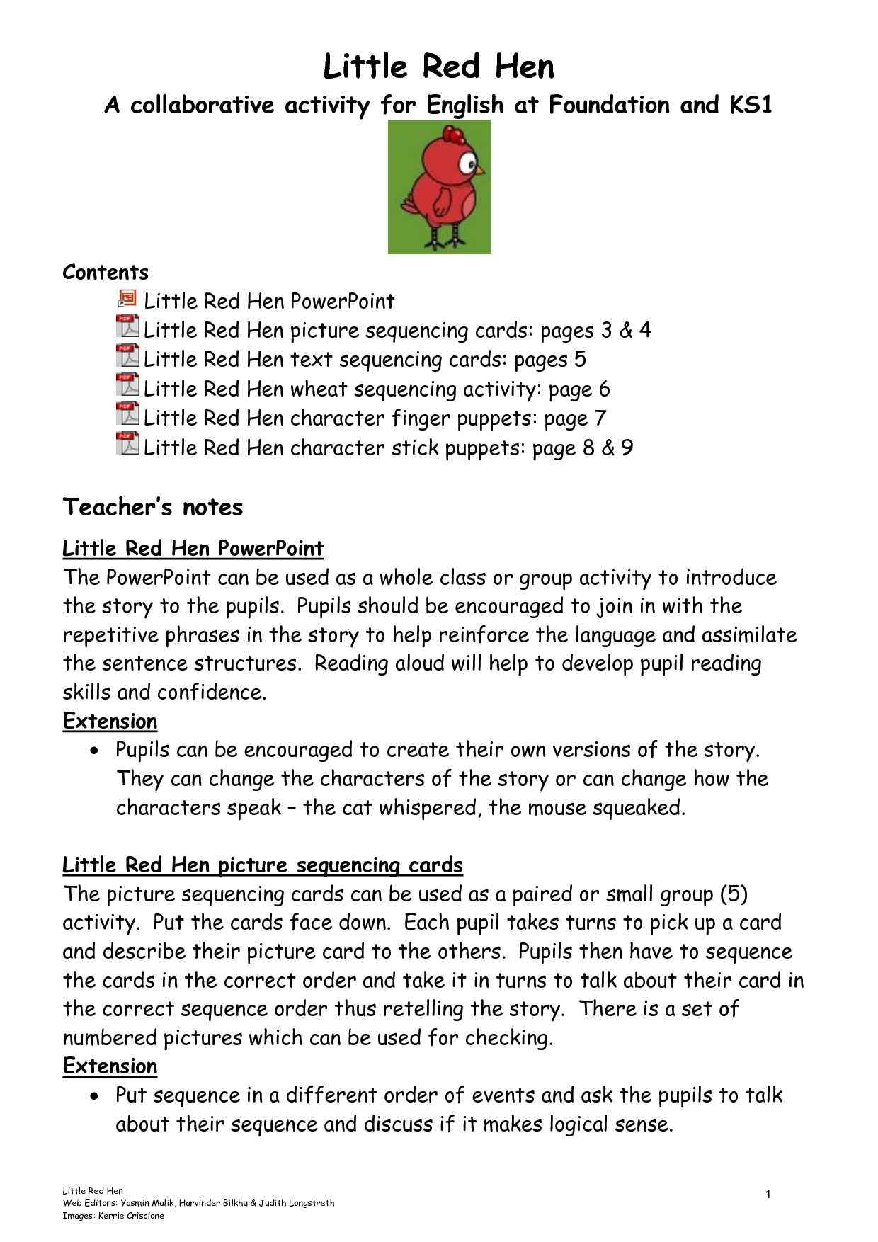 The Little Red Hen Sequencing Printable
