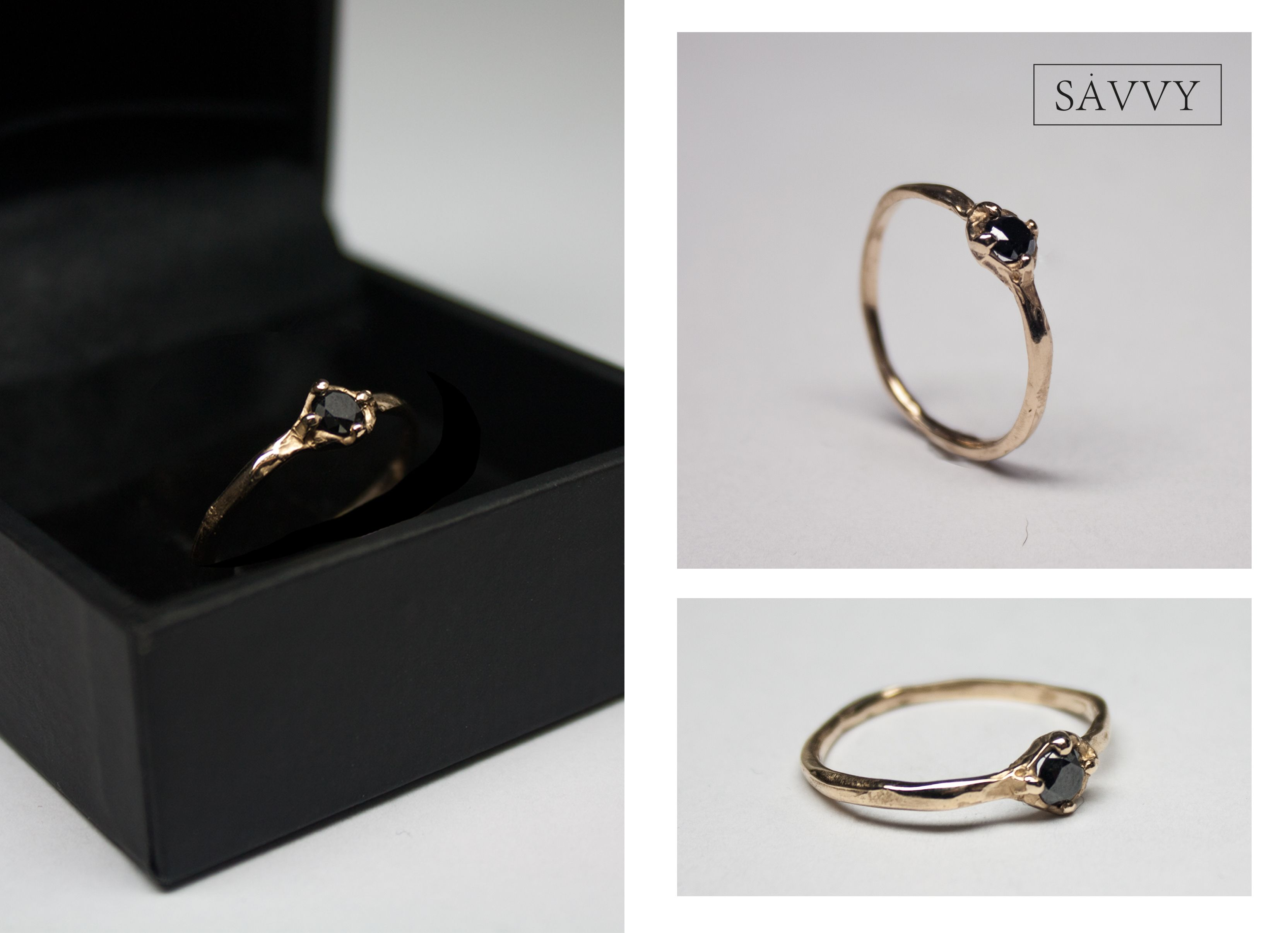 Engagement Ring 14k Gold Black Diamond 35 mm made by SAVVY