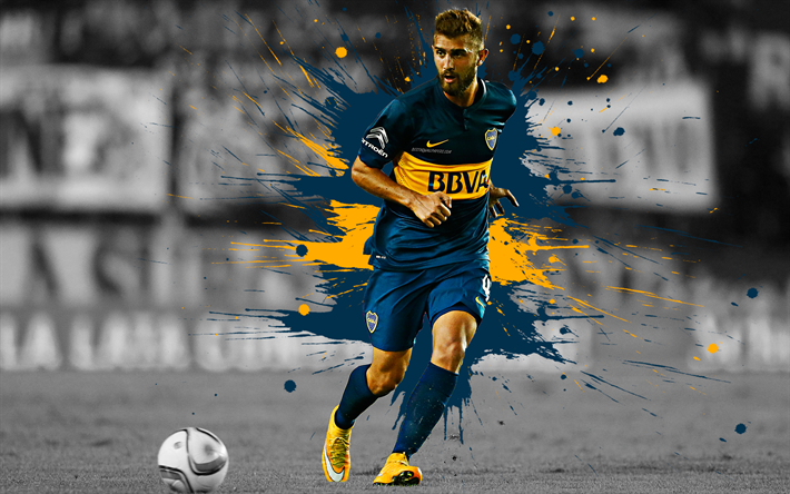 Download Wallpapers Gino Peruzzi 4k Art Boca Juniors Argentinian Football Player Winger Blue Yellow Splashes Of Paint Grunge Art Creative Art Argentina Disenos De Unas Fondos De Pantalla