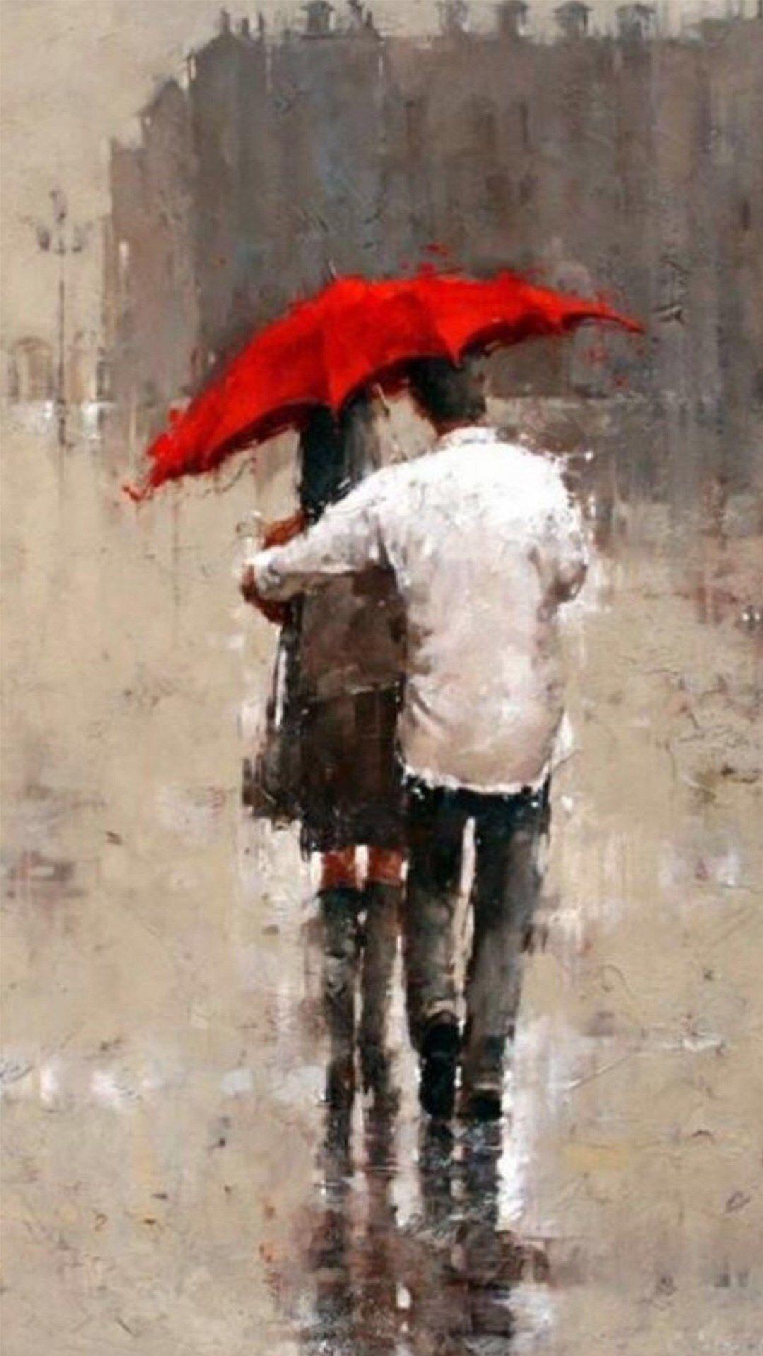 Wallpaper iphone umbrella - Rainy Romantic Lover Couple Back Art Iphone 6 Wallpaper