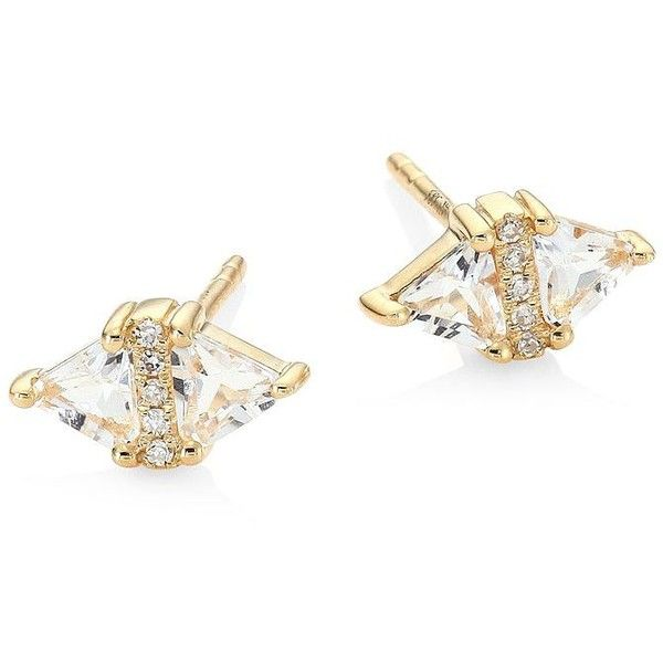 EF Collection Triangle Diamond, White Topaz & 14K Yellow Gold Stud... (€490) ❤ liked on Polyvore featuring jewelry, earrings, apparel & accessories, no color, gold earrings, stud earrings, diamond stud earrings, yellow gold diamond earrings and 14 karat gold earrings