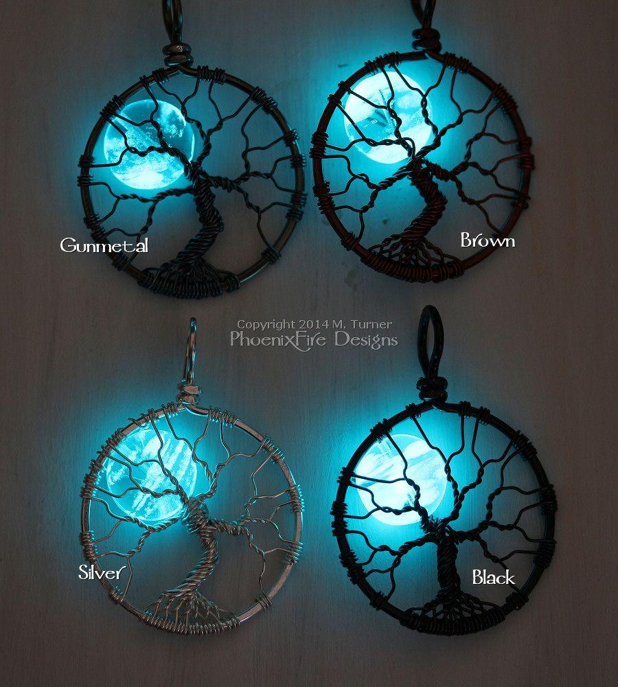Glow in the dark full moon tree of life pendants by PhoenixFire ...