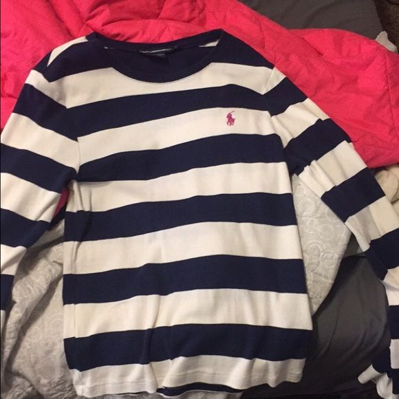 POLO sweater large striped polo sweater. fits a medium Polo by Ralph Lauren Tops Tees - Long Sleeve