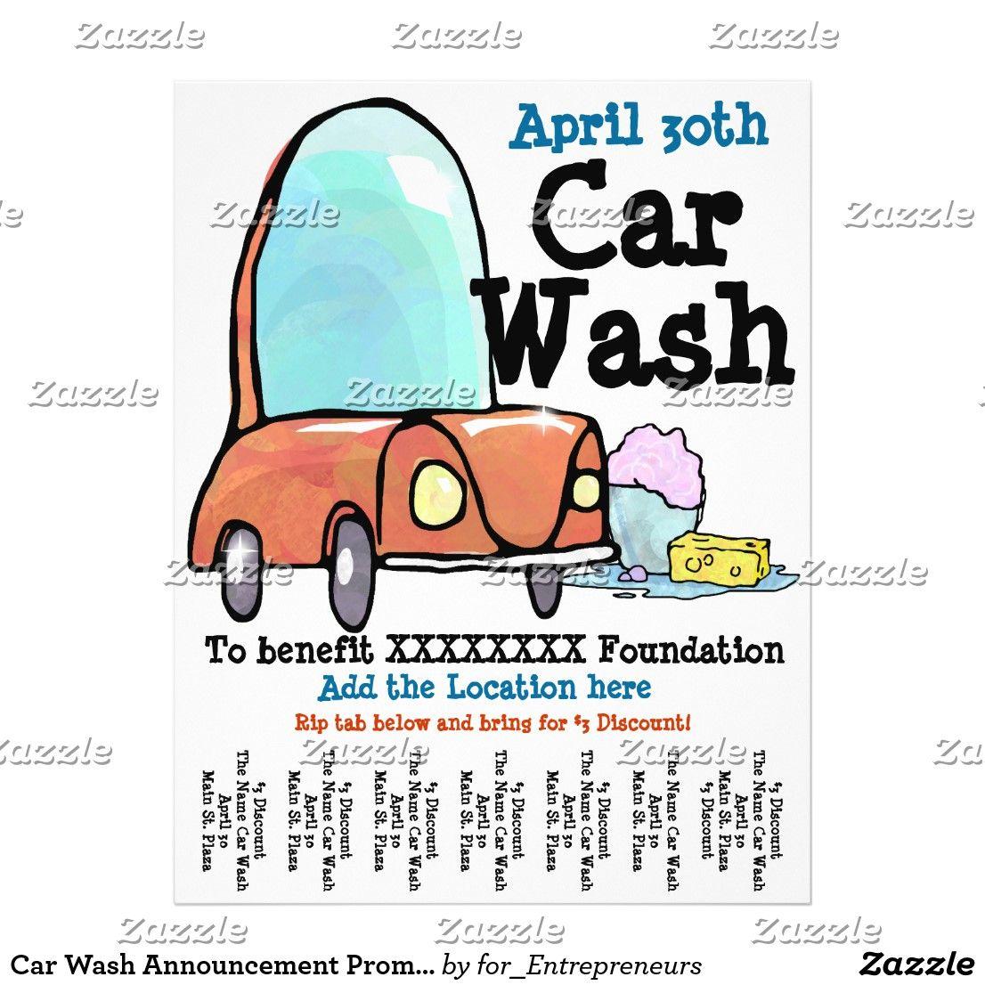 Car Wash Announcement Promotional Flyer Zazzle Com Promotional