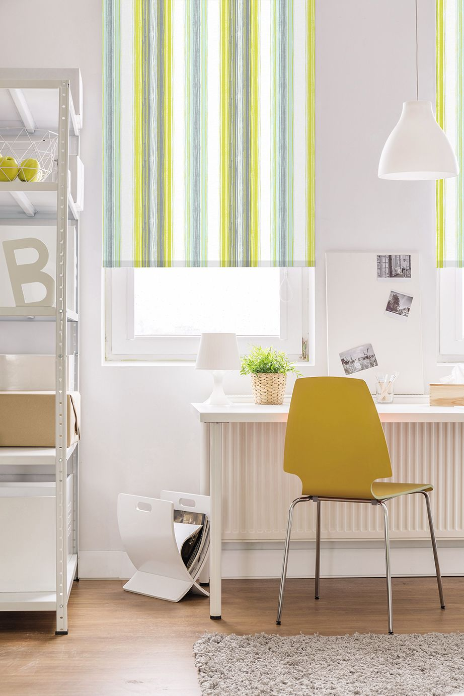 Clarence Stripe Pistachio Roller Blind Fabric Blinds Modern