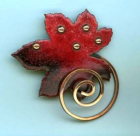 Brooch | Matisse.  Glass enamel on copper designs