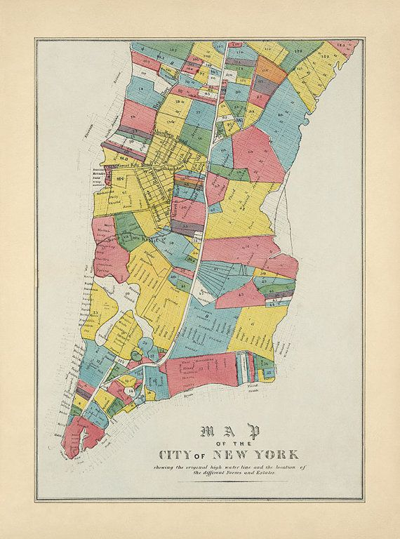 Antique Map of New York City from 1852, Archival ...