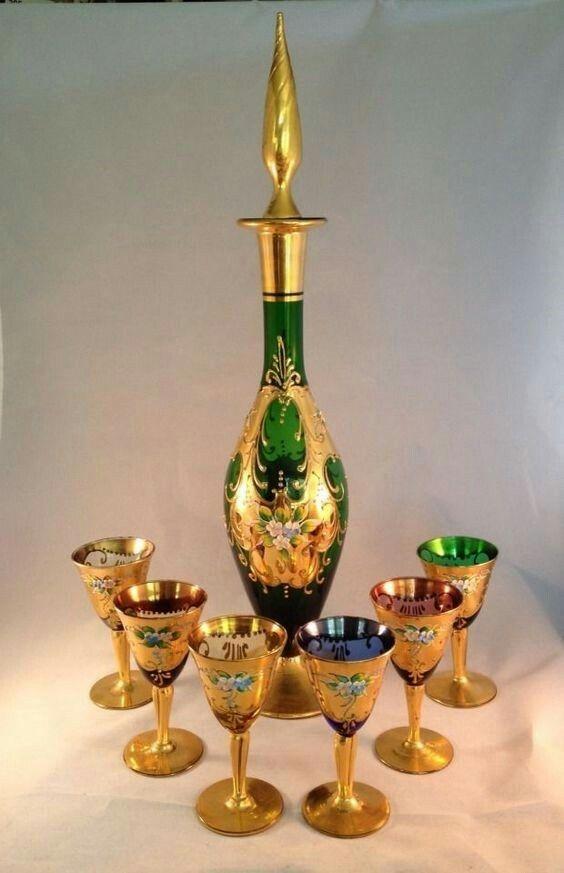 Vintage Decanter And Shot Glasses W Raised Enamel Gold Leaf Designs Glass Decanter Set Glass Decanter Glass