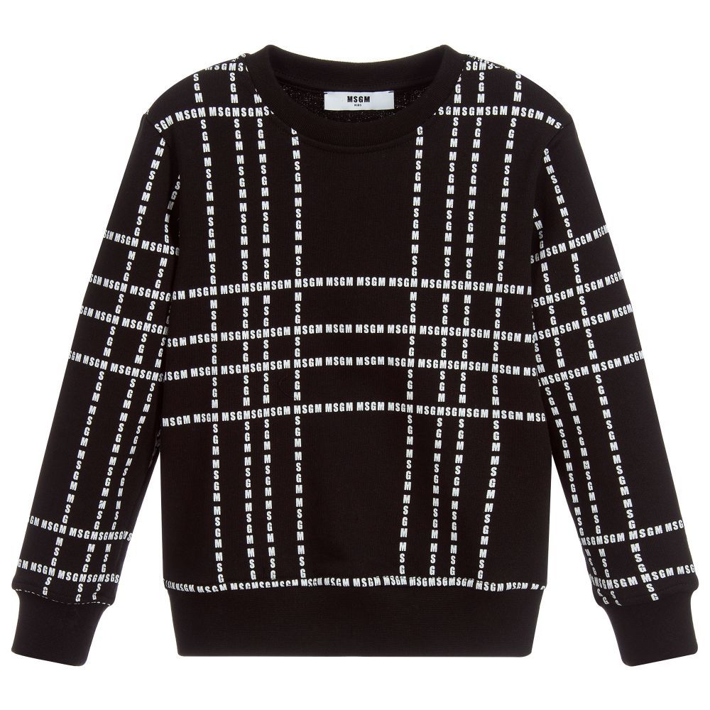 54e3621c5495 Black cotton sweatshirt for boys and girls by MSGM
