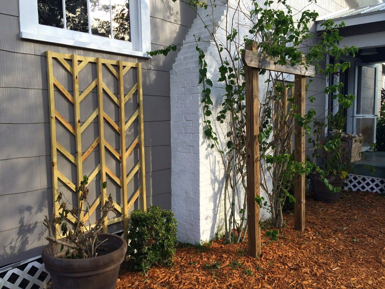 diy wooden chevron lattice Easter Avenue Co on Remodelaholic