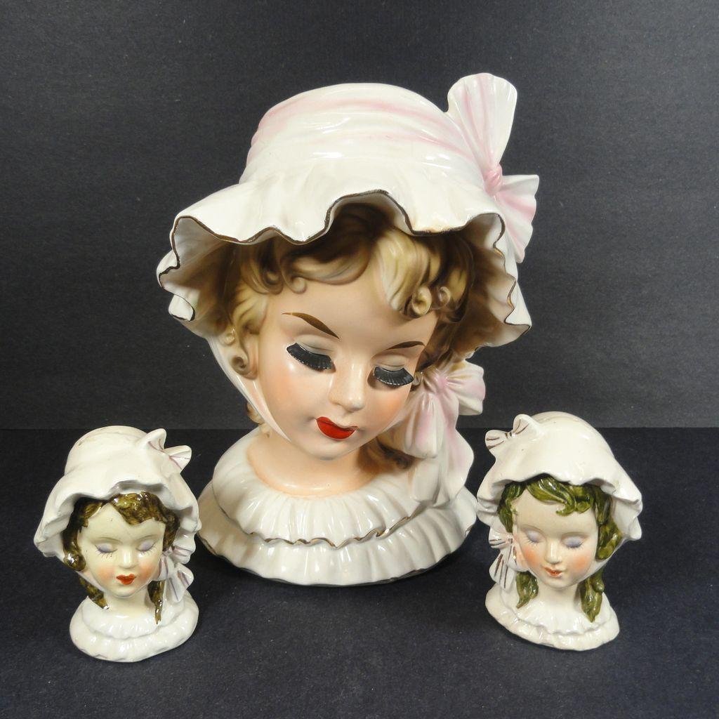 Ruffled Bonnet Bows Lady Salt Pepper Shakers To Match Head Vase Head Vase Ceramic Lady Heads Vintage Vases