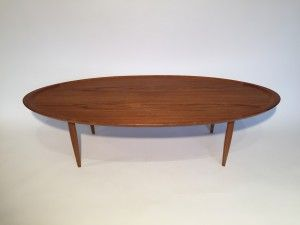 Spectacular Scandinavian Modern Oval Teak Coffee Table This Beauty Has A Curved Edge Adding Some Depth And Intrigue Very Well Made In Excellent