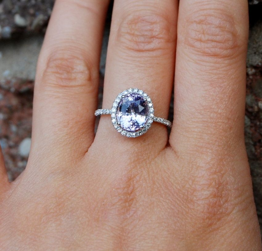 3ct Lavender violet oval color change sapphire ring diamond ring engagement r