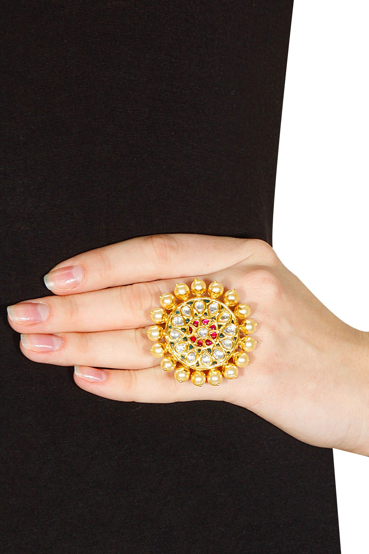 Gold Plated Crystal Pearl Ring Available Only At Pernia's Popup Shop