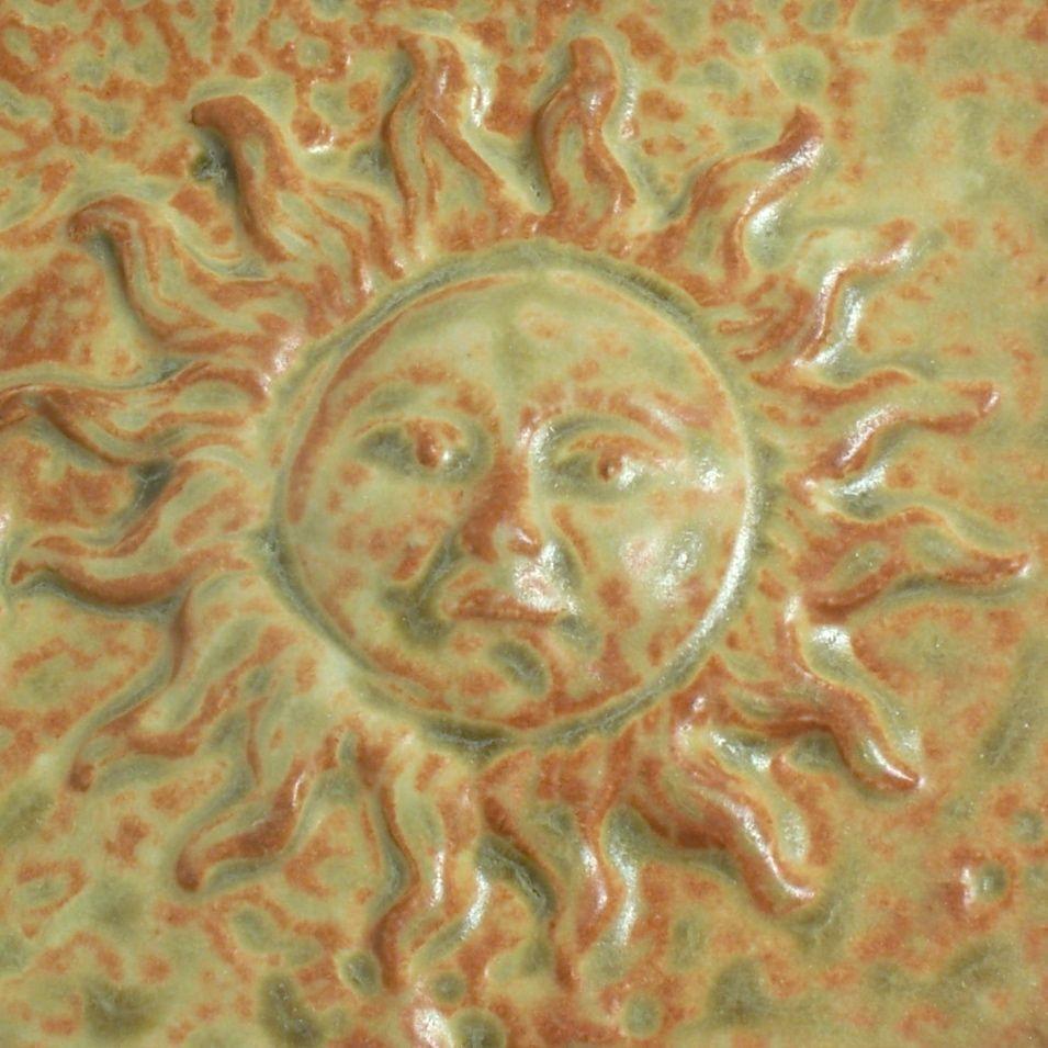 Glazed stonware Tile Sun Face Yellow Orange Gold Wall Decor. $16.00 ...