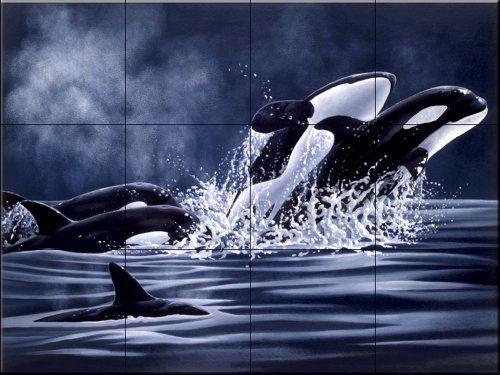 Orcas 2 by Laura Regan - Kitchen Backsplash / Bathroom wall Tile Mural The Tile Mural Store http://smile.amazon.com/dp/B00A5TCHRU/ref=cm_sw_r_pi_dp_TDhYub1GBQG4N