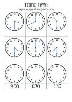 Telling Time O Clock Half Past Time Worksheets Telling Time Telling Time Worksheets Math worksheets for grade time