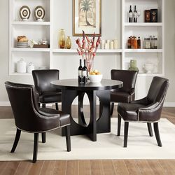 westmont 5piece brown faux leather 42inch round dining set
