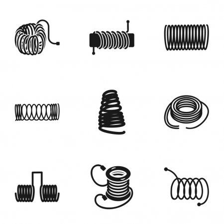 Metal coil icon set, simple style - Stock Vector , #sponsored, #icon, #set, #Metal, #coil #AD