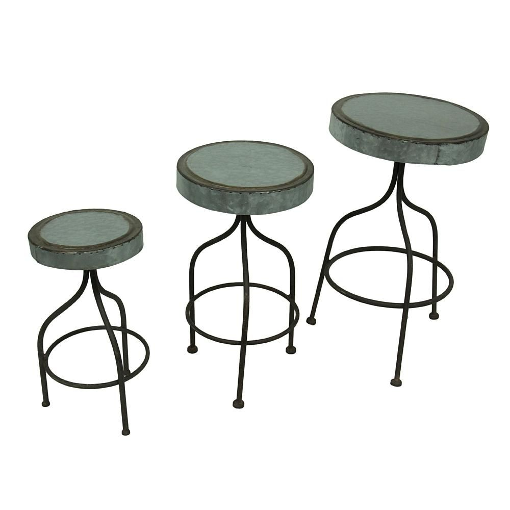 Dreamway Trading Galvanized Retro Metal Grey Bar Stools Decorative Plant Stands Set Of 3 Metal Bar Stools Metal Bar Plant Decor