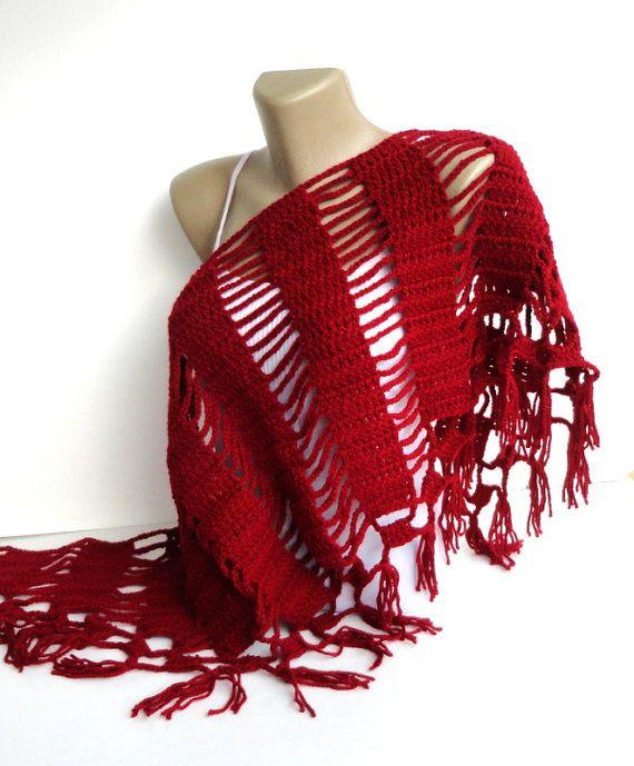spring scarf ,red scarf ,shawl ,crocheted neckwarmer Womens Fashion
