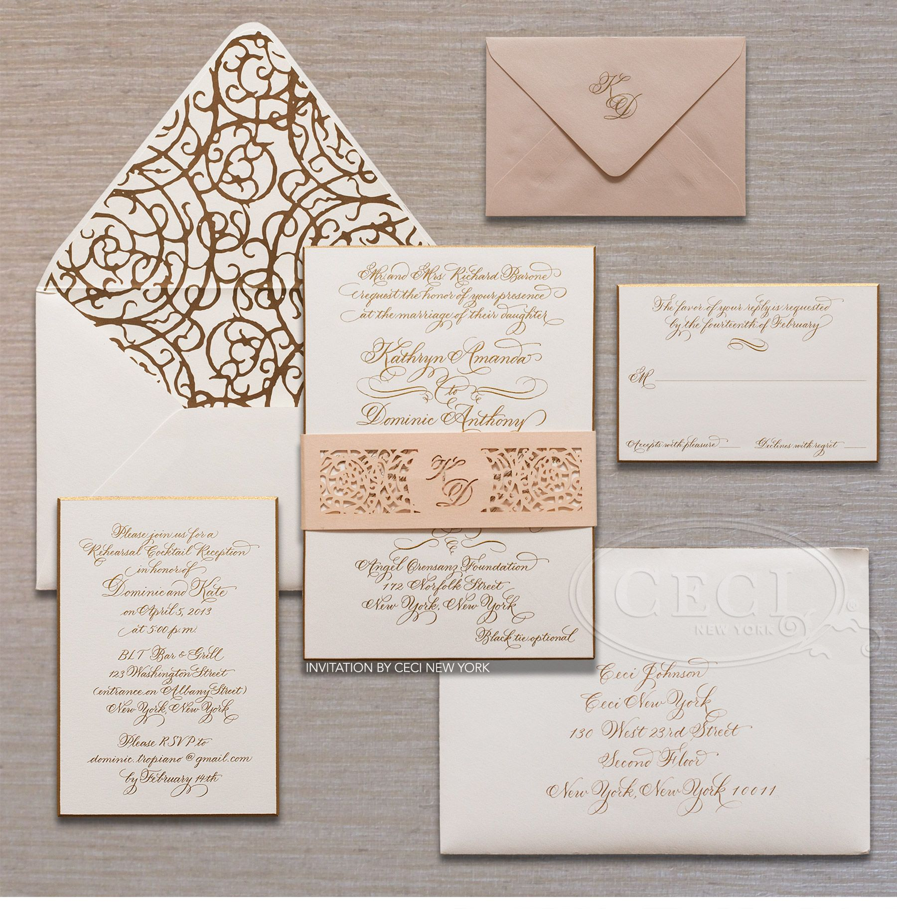 luxury wedding invitations by ceci new york stylish downtown nyc wedding ceci new