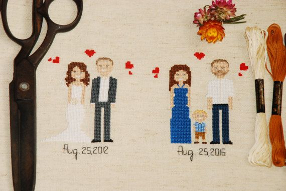4th Anniversary Cross Stitch Gift Ideas for him for her for