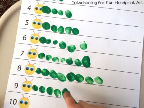 Fingerprint Counting Printables for Spring #preschoolers