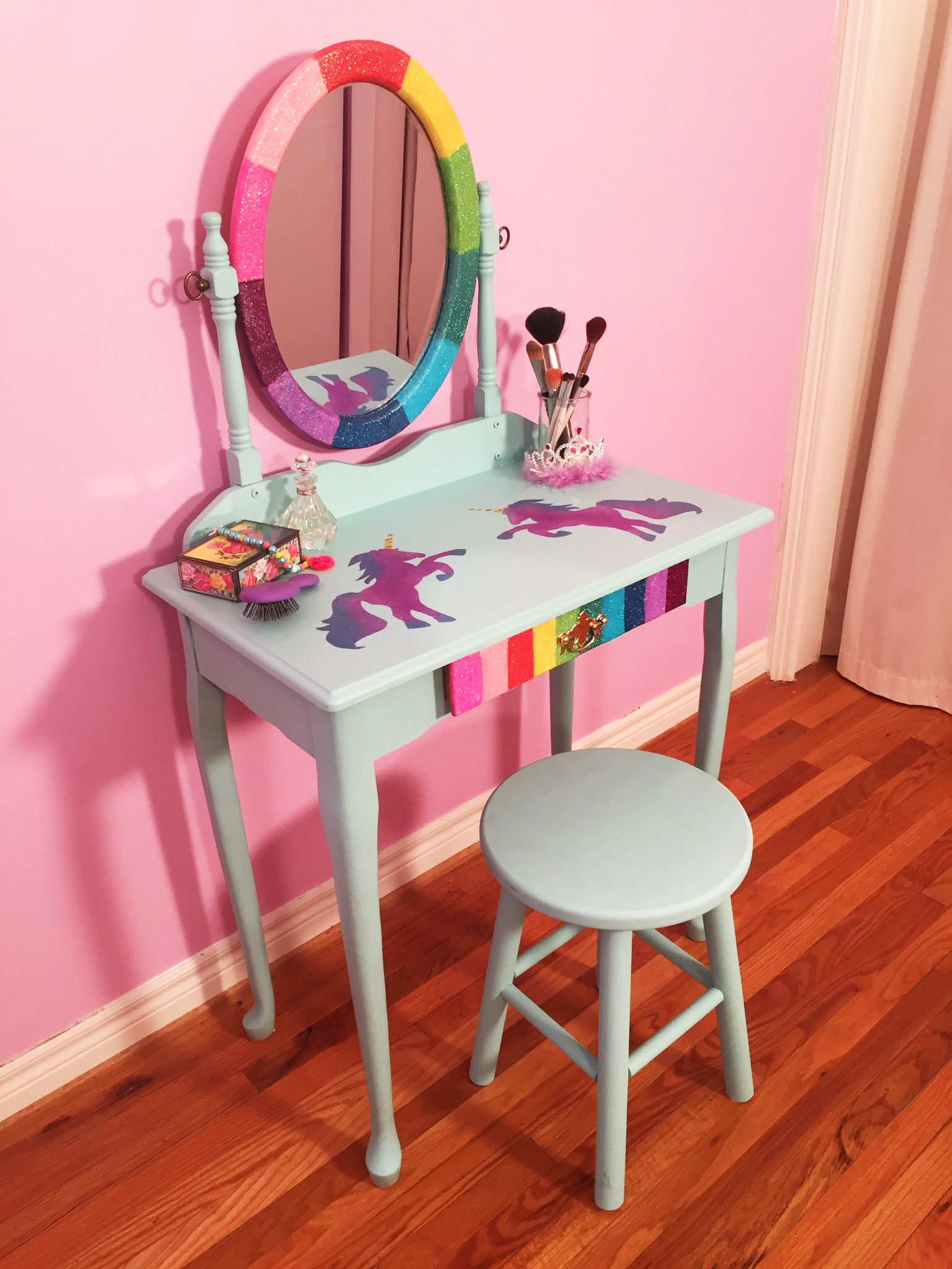DIY Glitter Rainbow and Galatic Unicorn Makeup Vanity Furniture