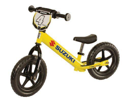 Strider Childrens No Pedal Balance Bike Suzuki Yellow Strider