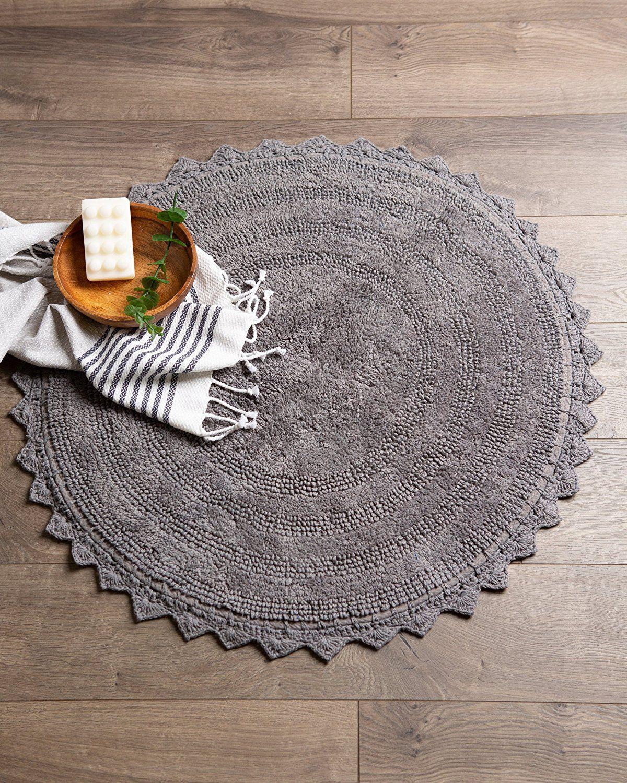 Amazon Com Dii Ultra Soft Spa Cotton Crochet Round Bath Mat Or