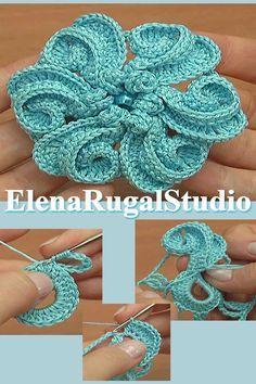 3D Spiral Crochet Flower Tutorial 117 3D espiral de crochê flor