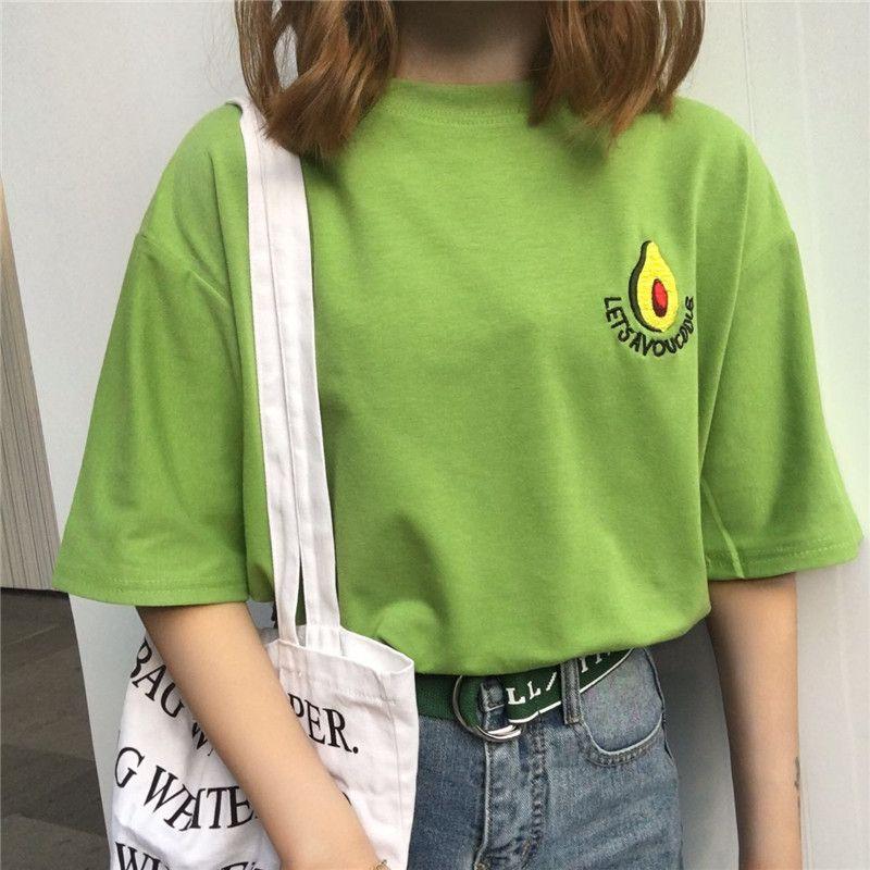 Tshirt Feminina 2018 Summer Women Clothing Korean Ulzzang Harajuku  Embroidery Fresh Green Short Sleeve T shirt Female Tee Shirt em Camisetas  de Das mulheres ... 52b973c77a86d