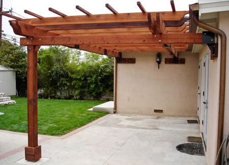 Home Dzine How To Build A Freestanding Or Wall Mounted Pergola Pergola Building A Pergola Outdoor Pergola