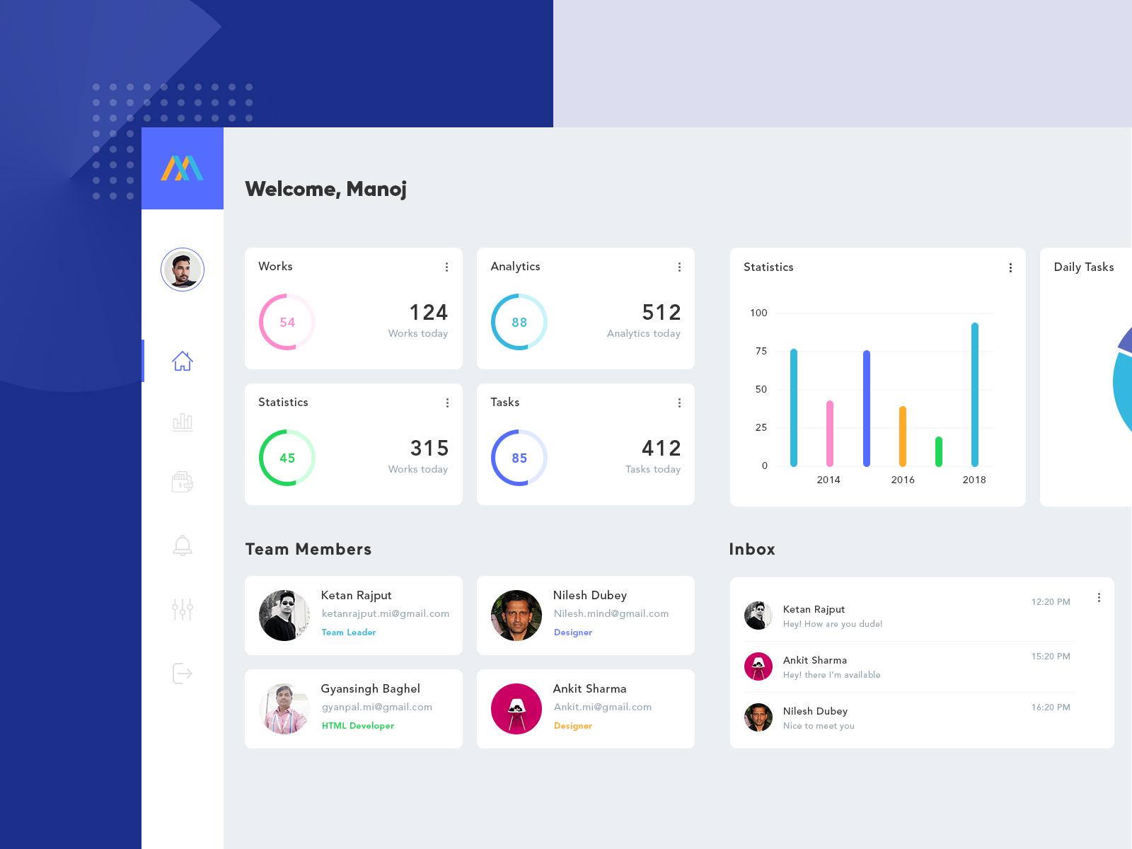 Team Management Dashboard | dashboard | Interactive design