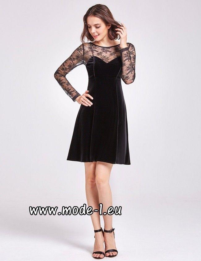 Kurzes Samt Kleid mit Spitze in Schwarz | Kleid spitze ...