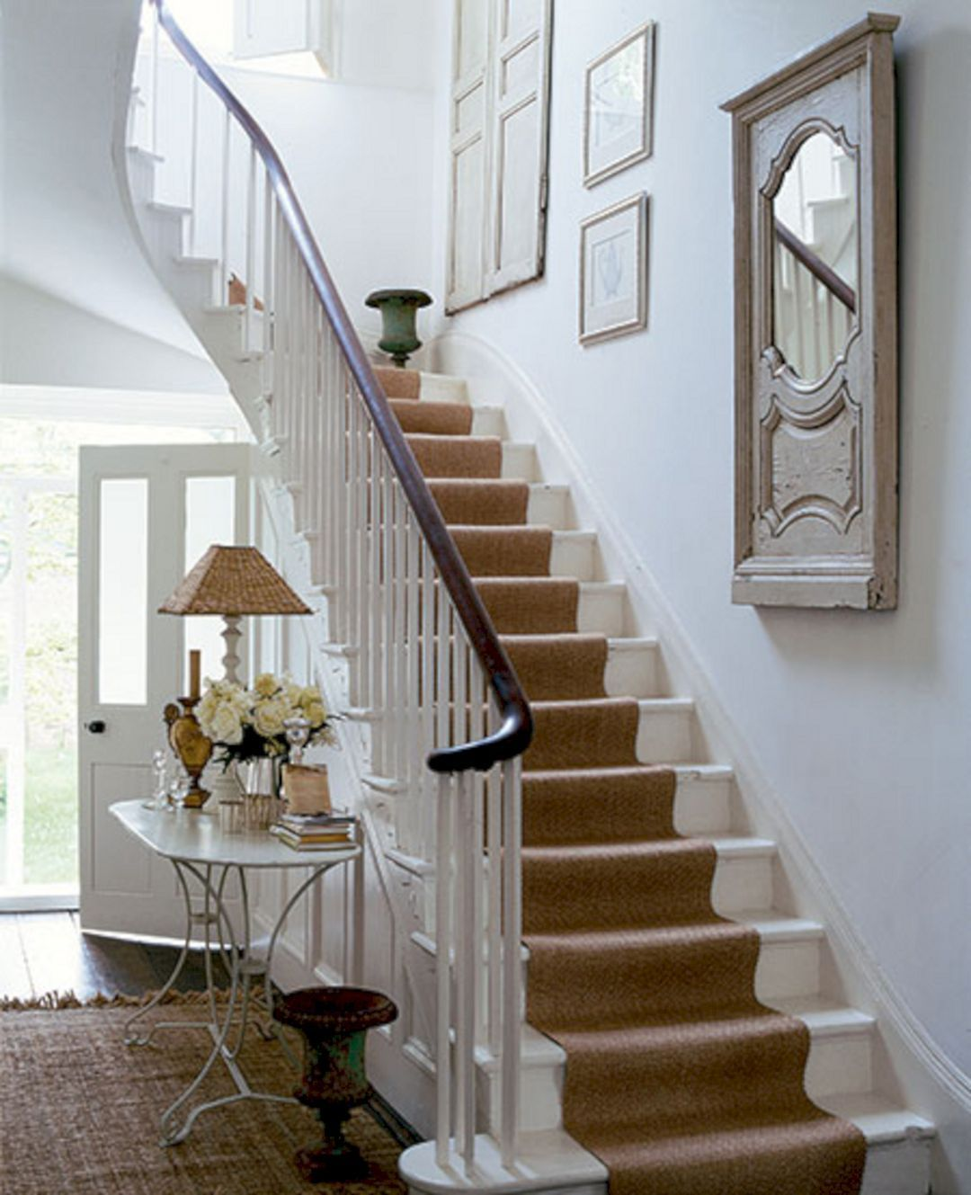Best White Painted Stairs With Carpet Runner White Painted Stairs With Carpet Runner Design Ideas 640 x 480