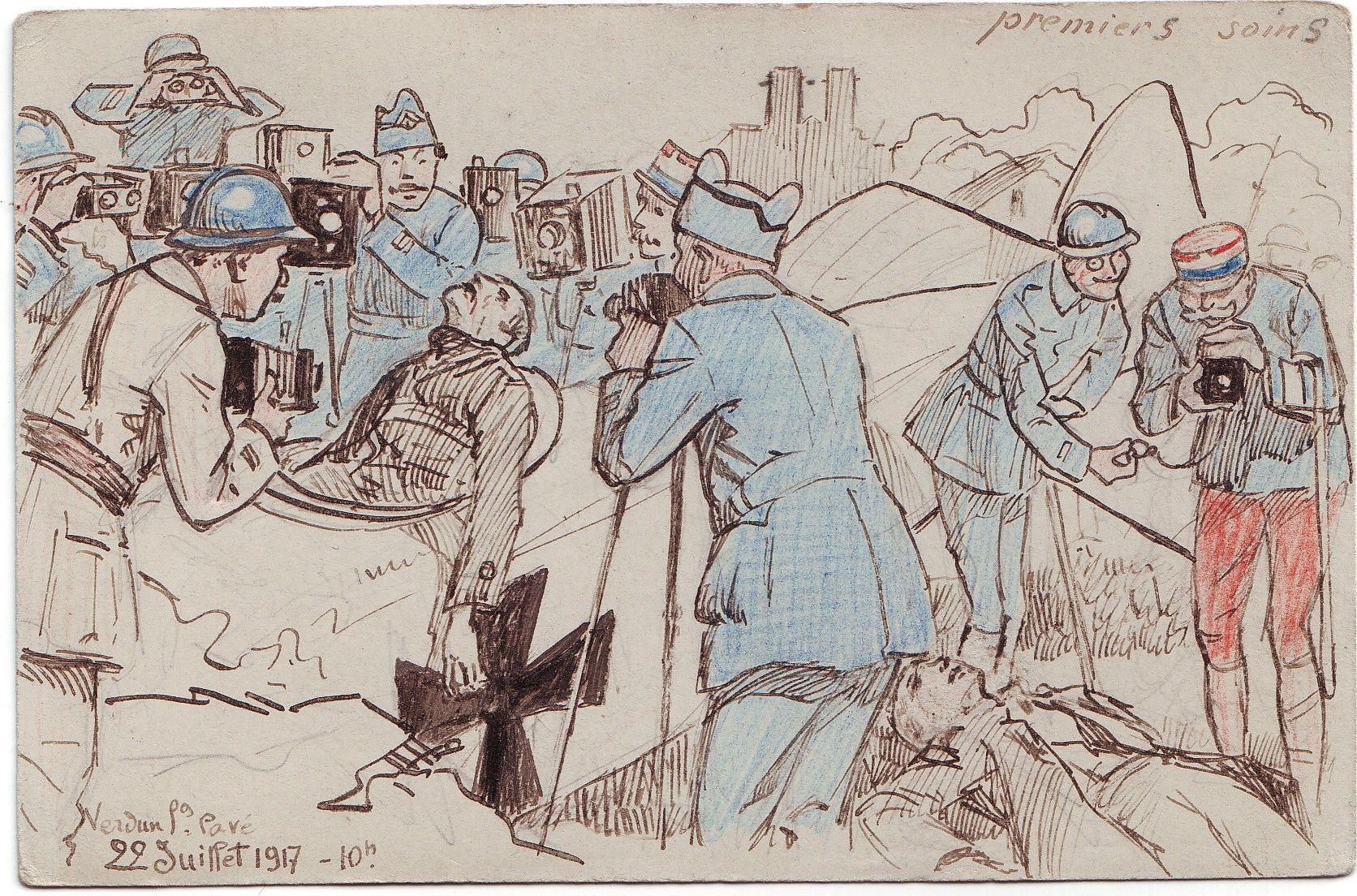 Carte Aquarellee Premiers Soins Caricature Des Photographes Militaires Par Maurice Toussaint 1917 Photographe De Guerre Armee De Terre Francaise Guerre