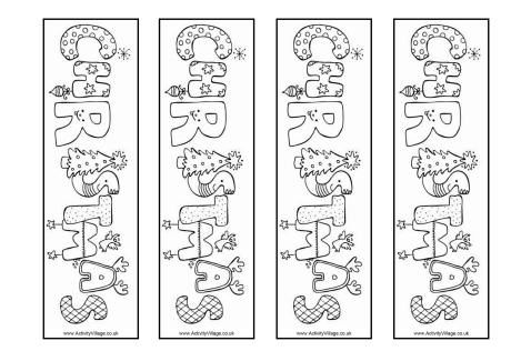 Christmas word colouring bookmarks Coloring pages Pinterest