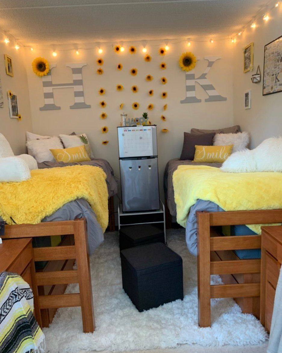Sunflower Dorm Room With Fairy Lights Sunflower Bedroom